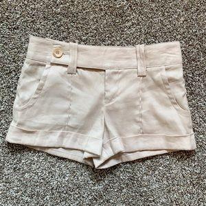 Bebe Cream Linen Blend Cuffed Shorts Size 0